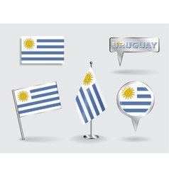 Set of Uruguayan pin icon and map pointer flags vector