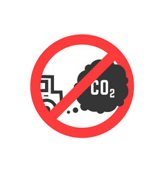 Sign prohibiting emissions carbon dioxide vector