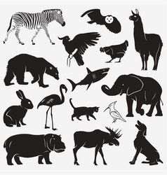silhouettes animals 1 vector image