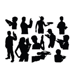 silhouettes people playing water shots vector image