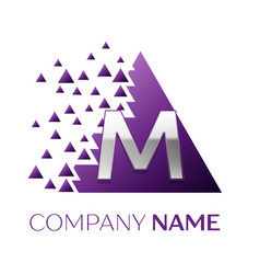 Silver letter m logo in the purple pixel triangle vector