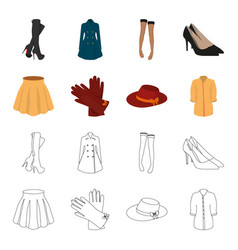 Skirt with folds leather gloves women hat with a vector