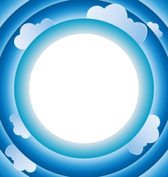 Sky and clouds in circle frame background template vector
