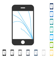 smartphone screen cracks icon vector image