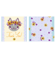 Square thank you card with cartoon bunny in a vector