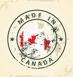 Stamp with map flag of Canada vector image