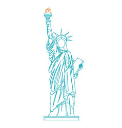 Statue of liberty thin line vector