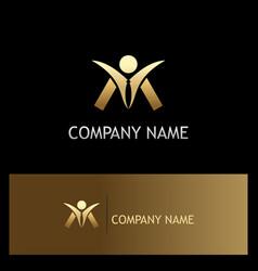 Success man happy gold logo vector