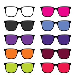Sunglass set in colorful vector