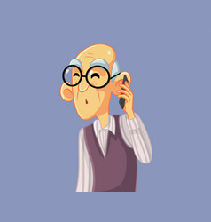 Surprised granfather talking on the phone cartoon vector
