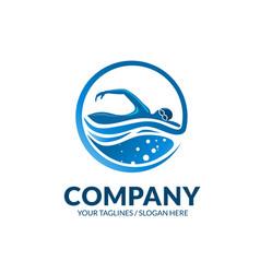 Swimming club sport logo vector