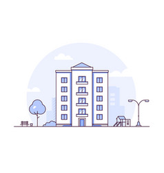 Urban landscape - modern thin line design style vector