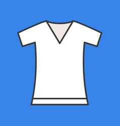 V neck t shirt filled color outline editable vector