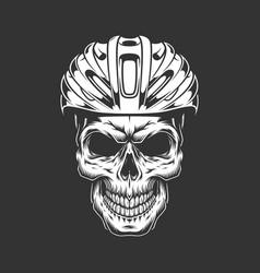 Vintage cyclist skull in helmet concept vector