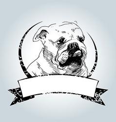 Vintage label with bulldog head vector image
