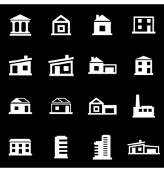 White buildings icon set vector