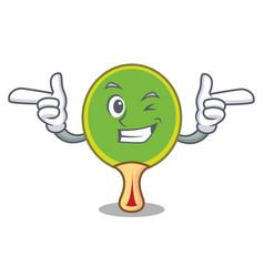 Wink ping pong racket character cartoon vector