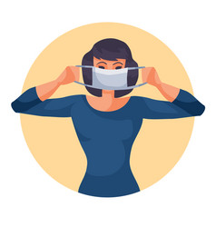 Woman in blue sweater puts on a protective mask vector