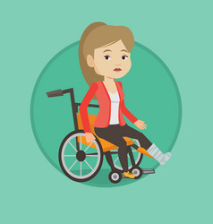 Woman with broken leg sitting in wheelchair vector