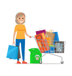 woman with shopping trolley make purchases at mall vector image