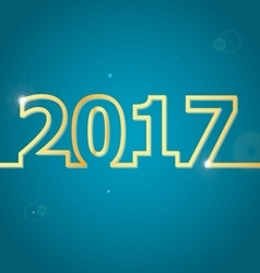 2017 Happy New Year on blue background vector image