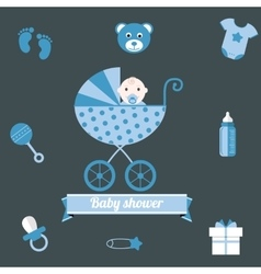 Baby shower icons set boy blue vector image vector image