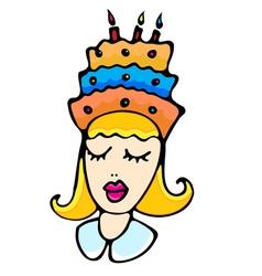 Cartoon girl with cake vector image