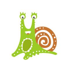 funny snail character cute green mollusk hand vector image vector image