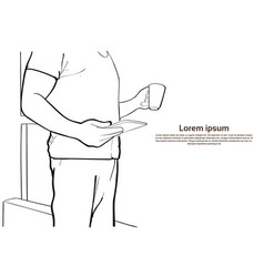 man hold tablet computer coffee cup closeup sketch vector image