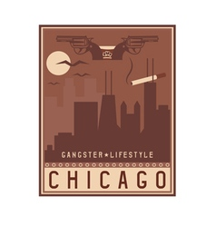 Old style vintage retro poster with chicago vector