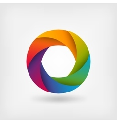 rainbow color circle logo template vector image