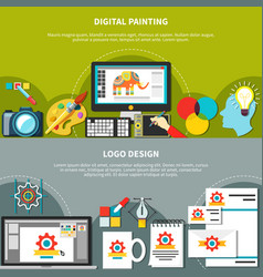 Two designer tools composition set vector