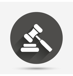 Auction hammer icon Law judge gavel symbol vector image