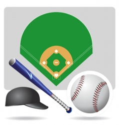 baseball field ball and accessories vector image vector image