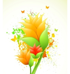 Ink with orange flowers vector image vector image