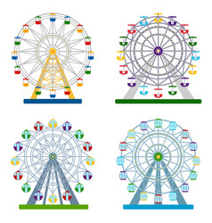 set of colorful ferris wheels on white background vector image vector image