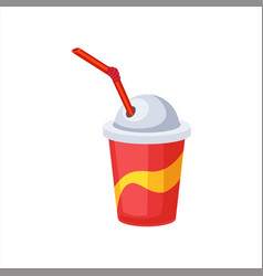 sweet soda drink in paper cup with straw street vector image