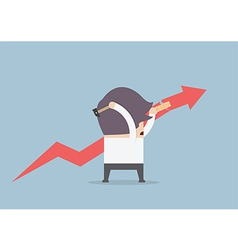 Businessman trying to repair the graph vector image