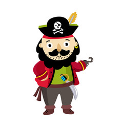 pirate man character in cocked hat icon vector image