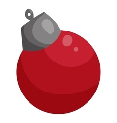 Red Christmas ball icon cartoon style vector image vector image