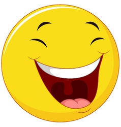 Smiling emoticon with laugh face vector image vector image