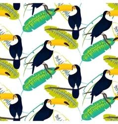 Toco toucan bird on banana leaves seamless vector image vector image