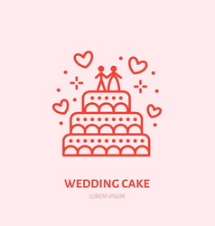 wedding cake sweets flat line icon vector image vector image