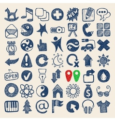 49 hand drawing doodle web icons collection vector image