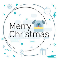 merry christmas from the flat design 2018 dog vector image