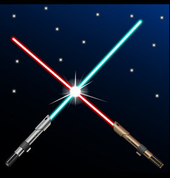 New design red and blue crossed light swords on vector
