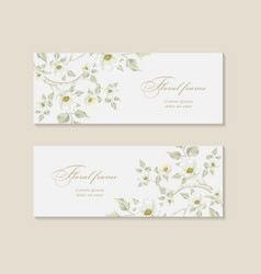 set greeting card with branch of sakura vector image vector image