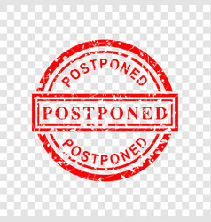 1 circle red grunge rubber stamp effect postponed vector