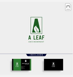 a initial leaf eco nature environment simple logo vector image