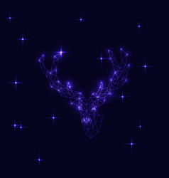 abstract deer on dark blue background vector image